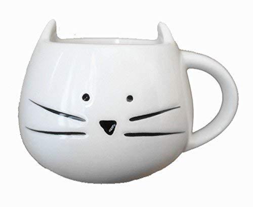 FunRun Lovely Chat en céramique Mug Tasse à Café porcelaine mignon tasse tasse à expresso pour café thé eau Lait, Tasse de Couple,Blanc