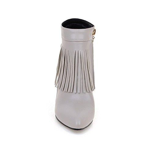 ZQ@QX Suggerimento della settimana per il getto sottile con tacchi alti e stivali e versatile ladies Stivali Stivali corto gray