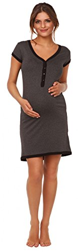 Happy Mama. Femme Maternité chemise nuit Nuisette grossesse et allaitement. 981p Graphite Mélange