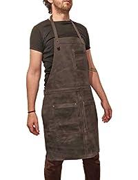 ONE LEAF Delantal de Cuero Profesional para Taller Garaje Bar Restaurante Café Chef Carnicero Metalúrgico Carpintero