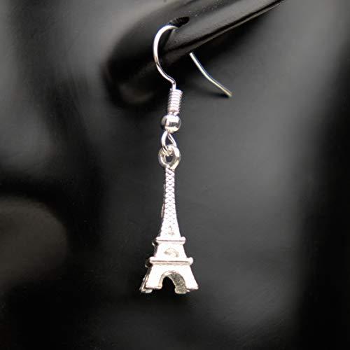 Ohrringe EIFFEL TOWER Eiffelturm Frankreich versilbert hängend handmade einzigartig Damen Mädchen Schmuck Design modern filigran Muster Jugendstil