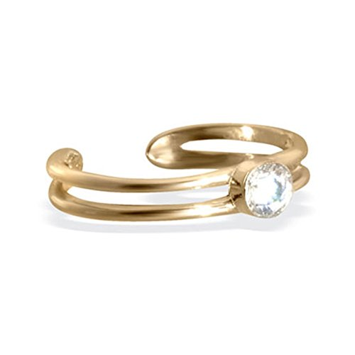 14 K Gold Zehenring mit Single CZ Gem