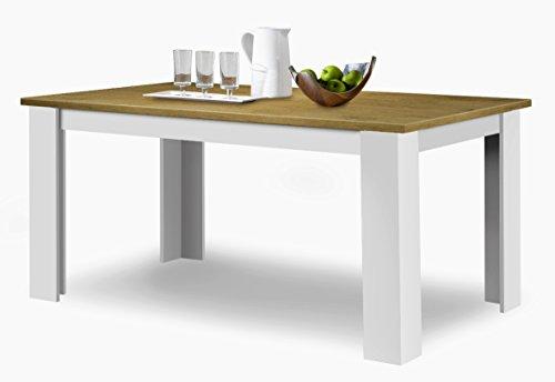 agionda ® Esstisch Toledo Wildeiche Weiss 140 x 90 cm mit kratzfester Melamin Oberfläche