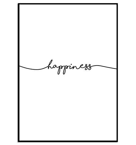 KGidee kgpack Happiness Kunstdruck auf wunderbarem Papier A4 ohne Rahmen schwarz-weißes Bild Poster zur Deko im Büro
