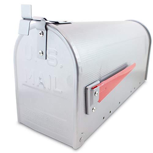 US Mailbox Amerikanischer Briefkasten Standbriefkasten Wandbriefkasten Letterbox Silber Inclusive Standpfosten - 3