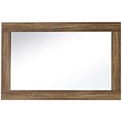Paul BLCC303051 espejo marco de madera de acacia oscuro NB, aproximadamente 100 x 65 x 2 cm