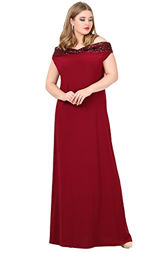 ea2f7048fc62d Angelino Butik Büyük Beden Bordo Öpücük Yaka Payetli Likralı Uzun Abiye  Elbise KL126P (56-