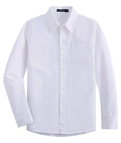 Langarm Popeline-uniform (Spring & Gege Jungen Langarm Solide formelle Uniform Baumwolle Twill Kleid Shirts Gr. 11-12 Jahre, weiß)