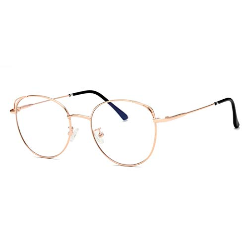 Mkulxina Anti-Blue Light Glasses Metall Männer und Frauen Brillen gestalten Computergläser (Color : Rose Gold)