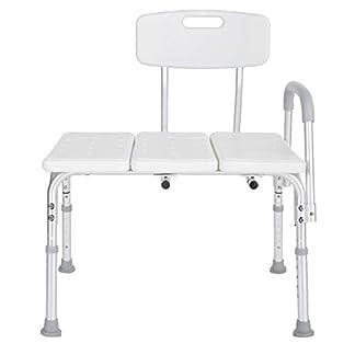 Taburete de ducha de aleación de aluminio, silla de baño desmontable Asiento de bañera de transferencia de altura ajustable con respaldo apoyabrazos para personas mayores