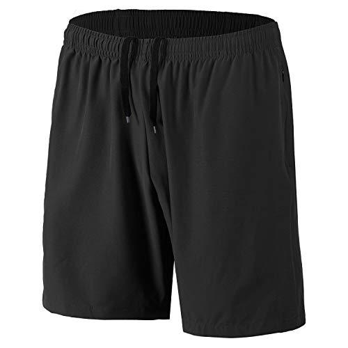 Herren Sport Shorts Schnell Trocknend Kurze Hosen mit Reißverschlusstaschen (Schwarz XL)