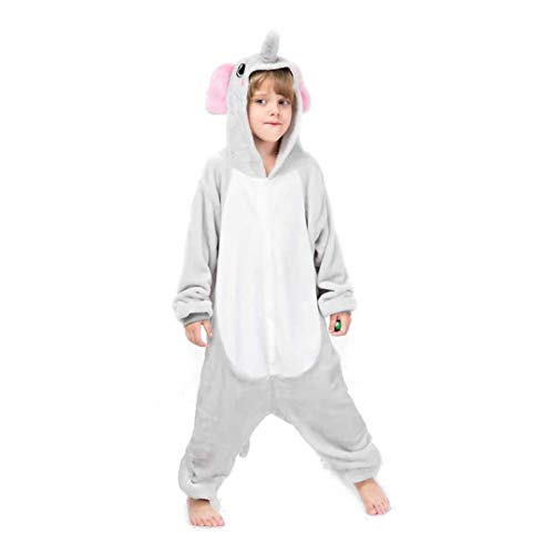 Kinder Elefant Schlafanzug Tier Pyjamas Halloween Cosplay Kostüm Onesie One Piece (M Alter 5-6 Jahre)