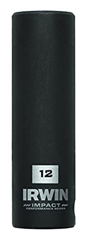 IRWIN Tools 1877485 Impact Performance Series 6-Point Deep Well Socket Bit, 12mm, 3/8-Inch Square