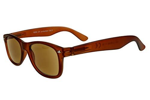 Lesesonnenbrillen alle Dioptrien für Damen Herren hellbraun matt getönt mit Etui und Federbügel Kunststoff 1.0 1.5 2.0 2.5 3.0, Dioptrien:Dioptrien 3.5