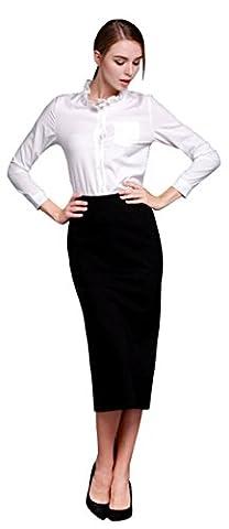 Baryao Damen Bekleidung Beiläufige Bodycon Bleistiftrock Elegant Frühling Hohe Taille Schrittrock Elastizität Geschlitztes Saum Bodycon Kleider Lang Röcke Übergrößen (M, schwarz)