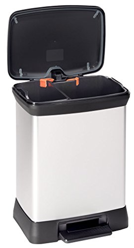 Curver 02165-582-00 Abfallbehälter Deco B Duo mit Pedal, 30 L, silber