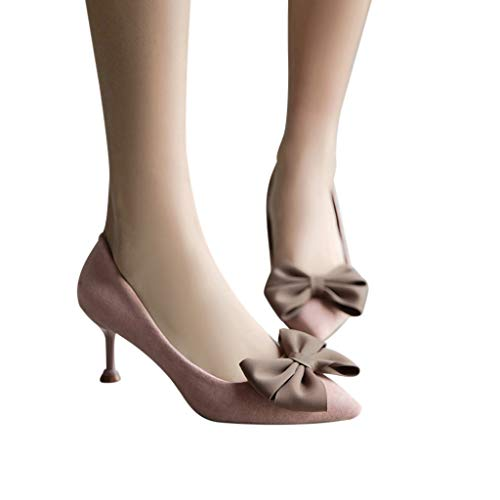 Mymyguoe Retro Spitz Zeh Pumps Damen Frauen Einzelne Schuh mit Pfennigabsatz Schleife Schnalle Abend Sandaletten Stiletto Slip-On Loafer Party Schuhe Sommer Hochzeit Kleid Schuhe Outdoor