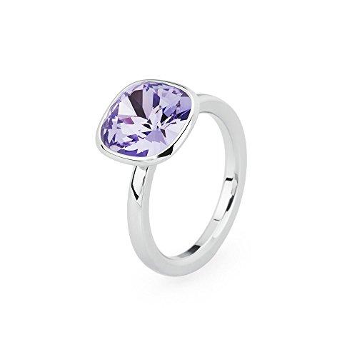 Brosway anello donna in acciaio bianco con cristallo viola, linea tring color edition, taglia 18, 5 grammi