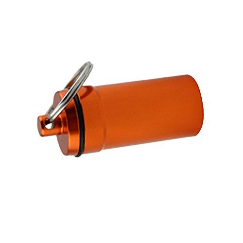Sharplace Mini Kapsel aus Aluminium im Freien wasserdicht Aufbewahrungsbox Pillendose Pillenbox mit Schlüsselring Schlüsselanhänger - Orange -