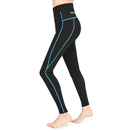 SKYSPER Legging de Sport Femmes Confortable Respirant Séchage Rapide Pantalon de Yoga Taille Haute Basique Elastique avec Poche Pantalon de Sports pour Fitness Gym Pilates Running Zumba