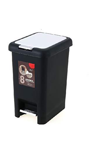 GYZS Großes Pedal Square mit Deckel Kunststoff Mülleimer Küche Home Mute (Farbe : SCHWARZ, größe : 20L) (Touchless Mülleimer 20 Liter)
