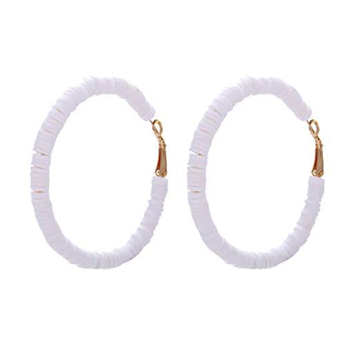 VithconlSommer böhmischen Stil handgefertigte geometrische Kreis Ohrringe Damen Schmuck (Weiß) (Earing Babys Gold Für)