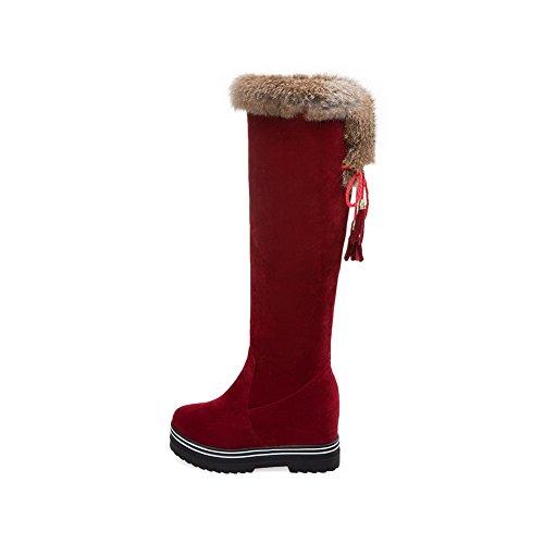 VogueZone009 Damen Hoch-Spitze Ziehen Auf Mattglasbirne Hoher Absatz Rund Zehe Stiefel Rot