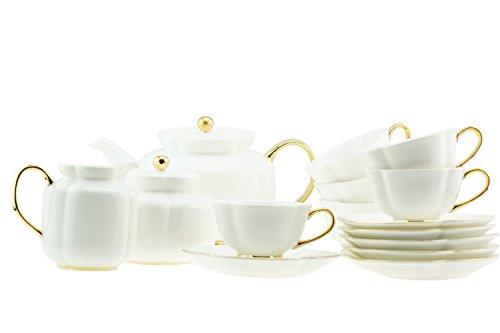 15pezzi in porcellana bianco perla oro maniglia melon-shaped Tea/Coffee Set per 6persone