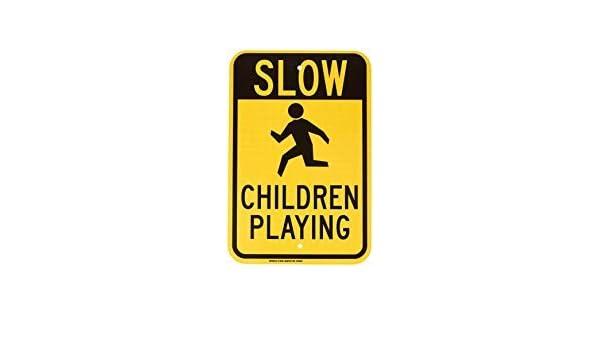 cartello decorativo per la casa 20,3 x 30,5 cm Cartello di avvertimento con scrittaSlow Children Playing Warning Private Property cartello di avvertimento di sicurezza per esterni