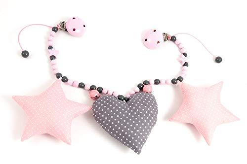 Kinderwagenkette // Stoffsterne Herz// grau rosa // Mädchen