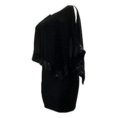 Kleider Damen Paillettenkleid Glitzer Bolero Knie Lang Abendkleid O Ausschnitt Patchwork Arbeit Büro Party Kleid Casual Elegant Juleya - 4