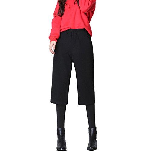 Zhiyuanan Femme 2 en 1 Pantalon Large Casual Lâche Trousers Taille Pantalon Droite Pantalon Automne et Hiver (A) Noir