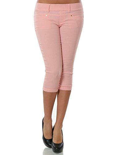 Damen Capri Hose Sommerhose Kurze-Hosen (weitere Farben) No 15527, Farbe:Rosa;Größe:40 / L (Stretch-capri-hosen Rosa)