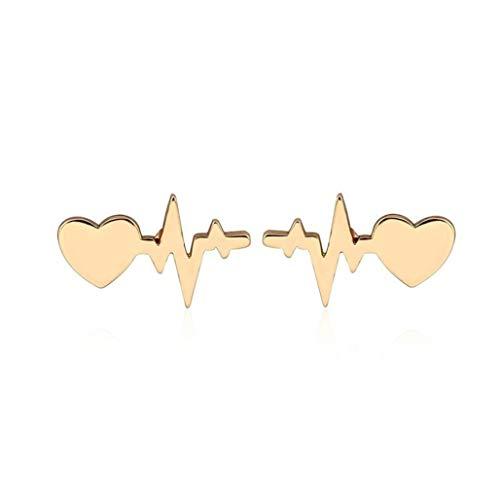 Kaned Herz-Elektrokardiogramm-Ohrstecker, modisches Herz, Liebes-Ohrringe, Schmuck für Frauen, Arzt, Krankenschwester, Geschenk, Legierung, Gold, Siehe ()