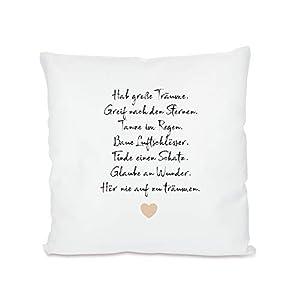 Hab große Träume I Geburtstagsgeschenk I Spruch I Kissen mit Spruch I weiß I Reißverschluss I Kissen 40x40 cm I Kissen 40x40 Füllung I Kissen 40x40 mit Bezug