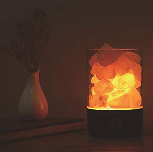 Natürliche Himalayasalzlampe, negative Ionenlampe mit dimmbarem Berührungsschalter, um Luft 3W effektiv zu reinigen,Black,round
