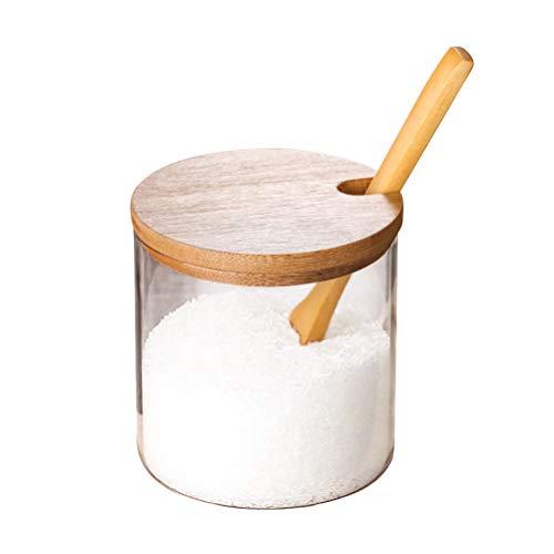 Besonzon Gewürzdose aus Glas, zum Würzen von Soßen, Salz, Dose, Küchenzubehör mit Deckel und Löffel