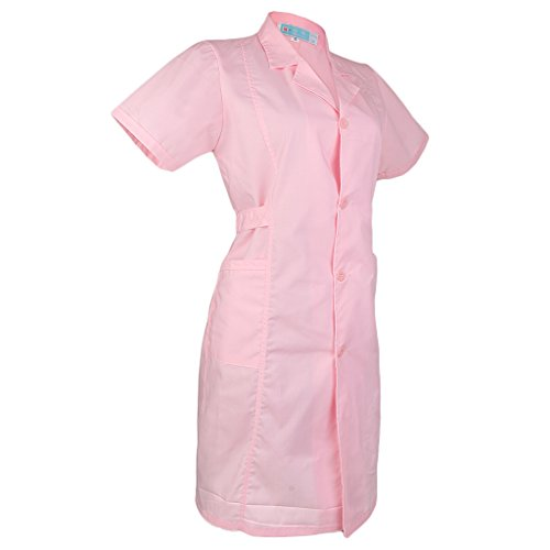 MagiDeal Laborkittel Damen Herren Kittel Berufsmantel Arztkittel mit Knöpfe Labormantel weiß/rosa Langarm/Kurzarm - Kurzarm-Rosa, S