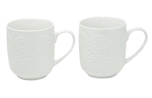 Set 2er Kaffeebecher Kaffeetasse Teetasse Tasse weiß groß aus Porzellan Modell Spitze je 370 ml Geschenkset grosse Becher in Geschenkverpackung von DUO mug für Kaffee Tee Cappucino Milchkaffee