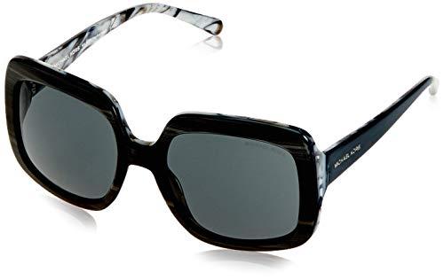 Michael kors harbor mist, occhiali da sole unisex-adulto, nero (black horn 321187), 55