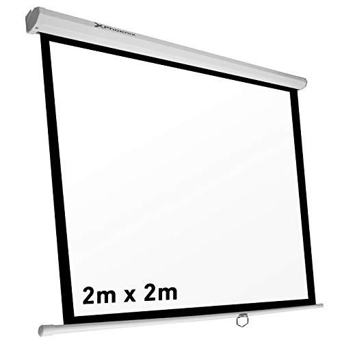 """Phoenix Technologies - Pantalla de proyección Manual Plegable 112"""" 2 x 2m Formatos 1:1, 4:3, 16:9 de techo y pared"""