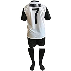 Completo Juventus Cristiano Ronaldo 7 Replica Autorizzata 2018-2019 Bambino (Taglie-Anni 2 4 6 8 10 12) Adulto (S M L XL) + Omaggio Calzettoni Neri (8 Anni, Neri - 31/34)