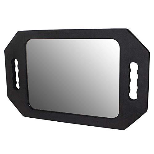 Kurtzy specchio da parrucchiere - 26cm x 19.5cm specchio da barbiere per salone parrucchiere, barbiere con manico - nero leggero specchio gommapiuma/specchio da salone parrucchiere