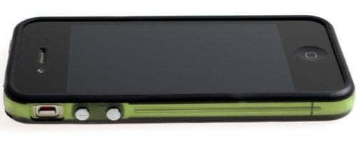 Horny Protectors Bumper für Apple iPhone 4 rosa/weiß mit Metallbutton grün/transparent/schwarz