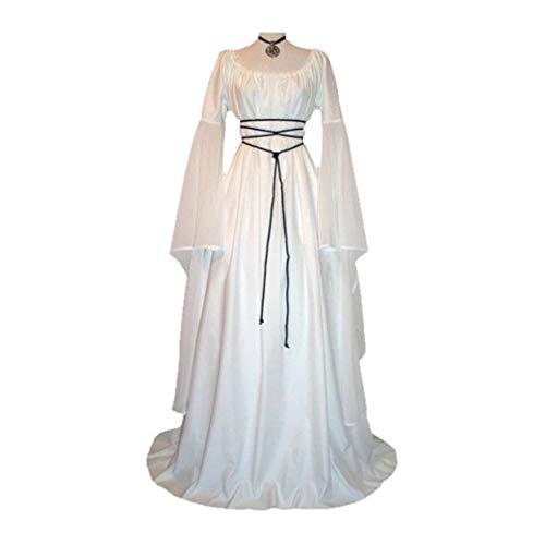 Donne costume medievale, retrò maniche lunghe costume per halloween festa donna vittoriano rinascimentale abito lungo costume