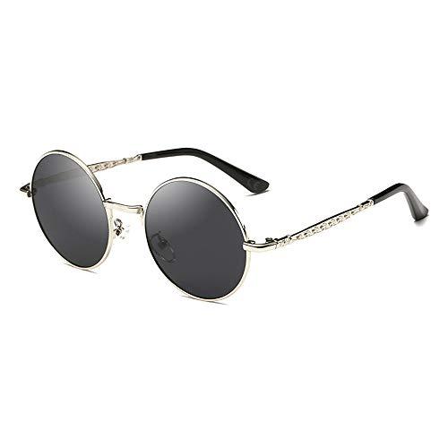 AMZTM Süß Steampunk Sonnenbrille für Kinder Mädchen Jungen Polarisierte Punk Brille, UV Schutz Linse Metall Rahmen, Kleine Runde Brille (Silberne Rahmen Graue Linse)