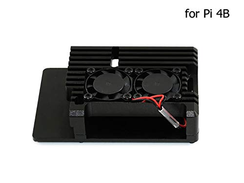 Waveshare Aluminium Alloy Case for Raspberry Pi 4 Model B Black Armour Dual Cooling Fans Built-in Heat Spreader Non-Shielding Design -