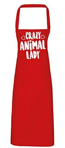 hippowarehouse Crazy Animal Lady Schürze Küche Kochen Malerei DIY Einheitsgröße Erwachsene, rot, Einheitsgröße