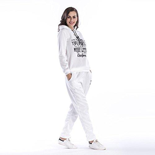 NiSeng Noël Alphabet Imprimé Pull À Capuche ,Femme Automne Casual Hoodie Survêtement Veste Manches Longues Col Rond Pull Shirt + Pantalons 2Pcs Suit Blanc (Ensemble)