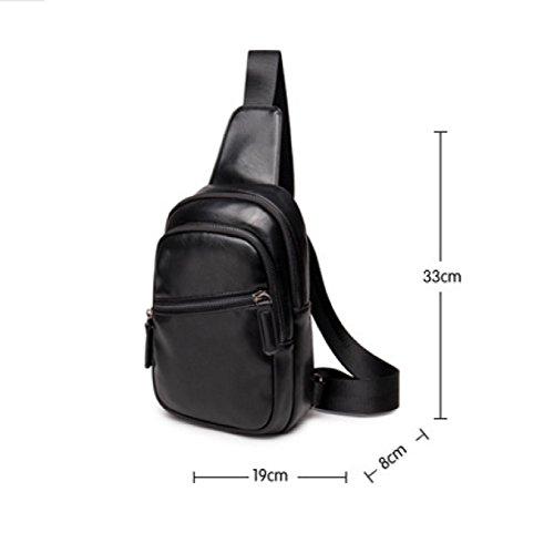 LAIDAYE Männer Casual Mode Umhängetasche Business-Paket Schultertasche Tasche Brust Black